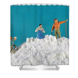 Hiking On Flour Snow Mountain Shower Curtain by Paul Ge