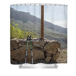 Hiking Poles Resting Near Sign Shower Curtain by Patricia Hofmeester