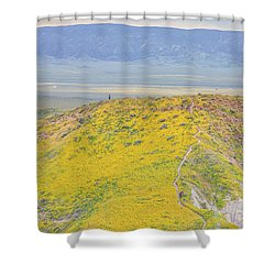 Hiking The Temblor Shower Curtain by Marc Crumpler
