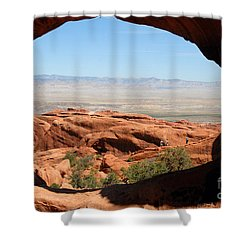 Hiking Through Arches Shower Curtain by David Lee Thompson