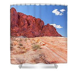 Hiking To The Fire Wave Shower Curtain