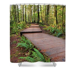 Hiking Trail Wood Walkway In Lynn Canyon Park Shower Curtain