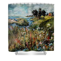 Hill Top Wildflowers Shower Curtain by Sharon Furner