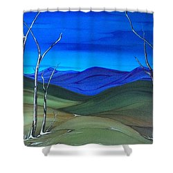 Shower Curtain featuring the painting Hill View by Pat Purdy
