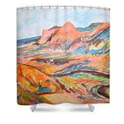 Hills Flowing Down To The Beach Shower Curtain by Esther Newman-Cohen