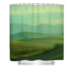 Hills In The Early Morning Light Digital Impressionist Art Shower Curtain