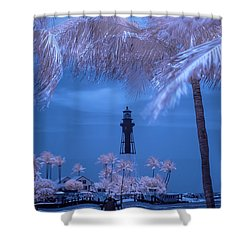 Shower Curtain featuring the photograph Hillsboro Inlet Lighthouse Infrared by Louis Ferreira