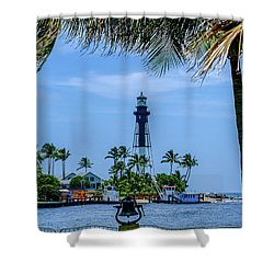 Shower Curtain featuring the photograph Hillsboro Inlet Lighthouse by Louis Ferreira