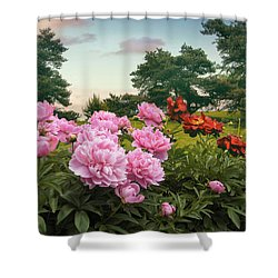 Hillside Peonies Shower Curtain by Jessica Jenney