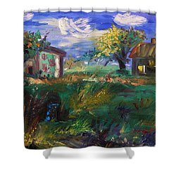 Shower Curtain featuring the painting Hillside Tranquility by Mary Carol Williams