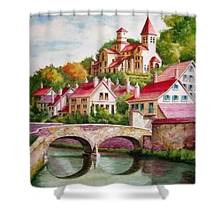 Hillside Village Shower Curtain by Charles Hetenyi
