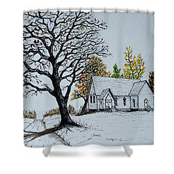 Hilltop Church Shower Curtain by Jack G  Brauer