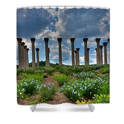 Hilltop Pillars Shower Curtain by Kevin Hill
