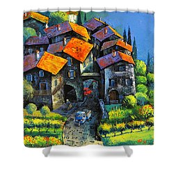 Hilltop Willage Shower Curtain by Mikhail Zarovny