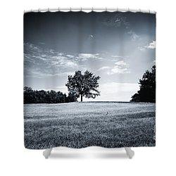 Hilly Black White Landscape Shower Curtain
