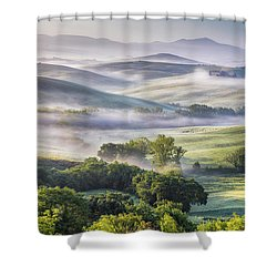Hilly Tuscany Valley At Morning Shower Curtain by Evgeni Dinev