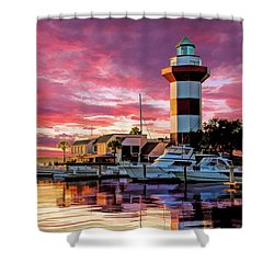 Shower Curtain featuring the painting Hilton Head Harbour Town Lighthouse by Christopher Arndt