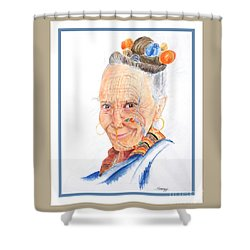 Himalayan Smile Lines -- Portrait Of Old Asian Woman Shower Curtain