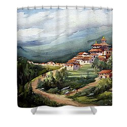 Himalayan Village  Shower Curtain