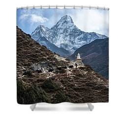 Shower Curtain featuring the photograph Himalayan Yak Train by Mike Reid