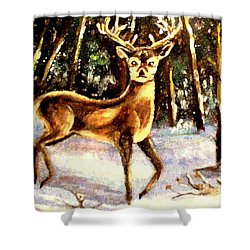 Shower Curtain featuring the painting Hinds Feet by Hazel Holland