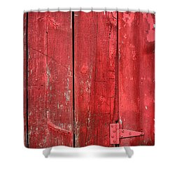Hinge On A Red Barn Shower Curtain by Steve Gadomski