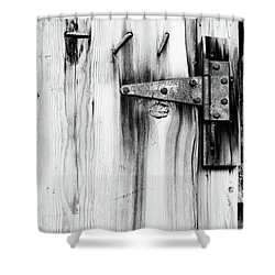 Hinged In Black And White Shower Curtain