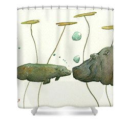 Hippo Mom With Babyv Shower Curtain