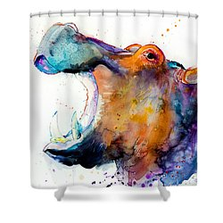 Hippo Shower Curtain by Slavi Aladjova