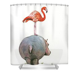 Hippo With Flamingo Shower Curtain by Juan Bosco