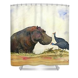 Hippo With Guinea Fowls Shower Curtain