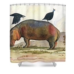 Hippo With Guineafowls Shower Curtain