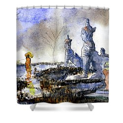 His And Hers Temples Shower Curtain by Randy Sprout