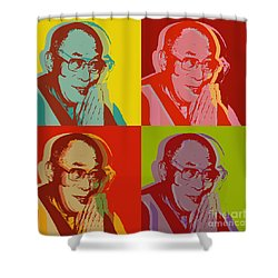 Shower Curtain featuring the digital art His Holiness The Dalai Lama Of Tibet by Jean luc Comperat