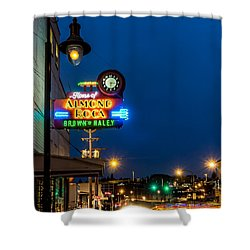 Historic Almond Roca Co. During Blue Hour Shower Curtain by Rob Green