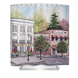 Shower Curtain featuring the painting Historic Blue Ridge, Georgia by Gretchen Allen