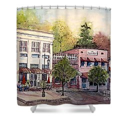 Shower Curtain featuring the painting Historic Blue Ridge Shops by Gretchen Allen