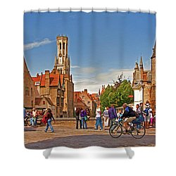 Historic Bruges Shower Curtain by Dennis Cox WorldViews