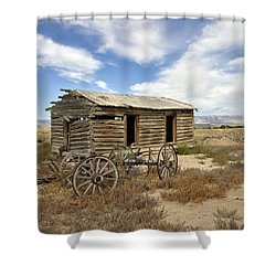 Historic Cabin And Buckboard Wheels In Big Horn County In Wyoming Shower Curtain