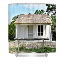 Shower Curtain featuring the photograph Historic Clint's Cabin by Ray Shrewsberry