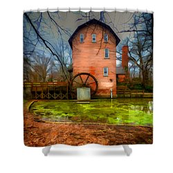 Historic Grist Mill In Hobart, In Shower Curtain