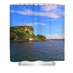 Shower Curtain featuring the photograph Historic Lighthouse On Chijin Island by Yali Shi