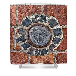 Historic Pavement Detail With Hungarian Town Seal Shower Curtain