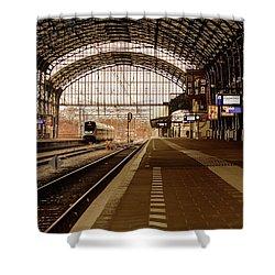 Historic Railway Station In Haarlem The Netherland Shower Curtain by Yvon van der Wijk