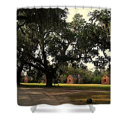 Historic Slave Houses At Boone Hall Plantation In Sc Shower Curtain by Susanne Van Hulst