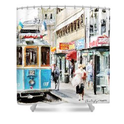 Historic Stockholm Tram Shower Curtain