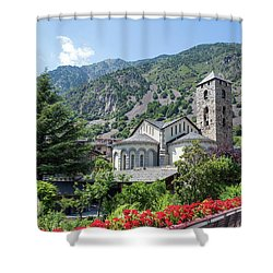 Historic Town Of Andorra La Vella Shower Curtain by GoodMood Art