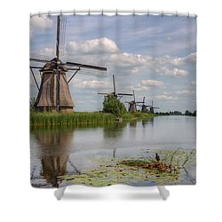 Historic Windmills In Holland Shower Curtain