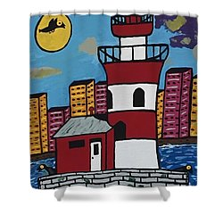 Historical Michigan Lighthouse Shower Curtain by Jonathon Hansen