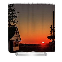 Historical Train Depot In Wayne Illinois Shower Curtain